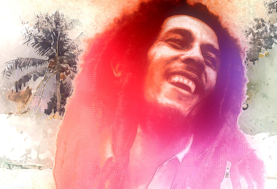 Bob Marley Reggae Miami Florida Jamaica Nine Miles Singer Songwriter Idol Famous Music Man Male Caribian Expressionism Portrait Face Laugh Laughing Digital Art Musician Painting - Bob Marley by Steve K