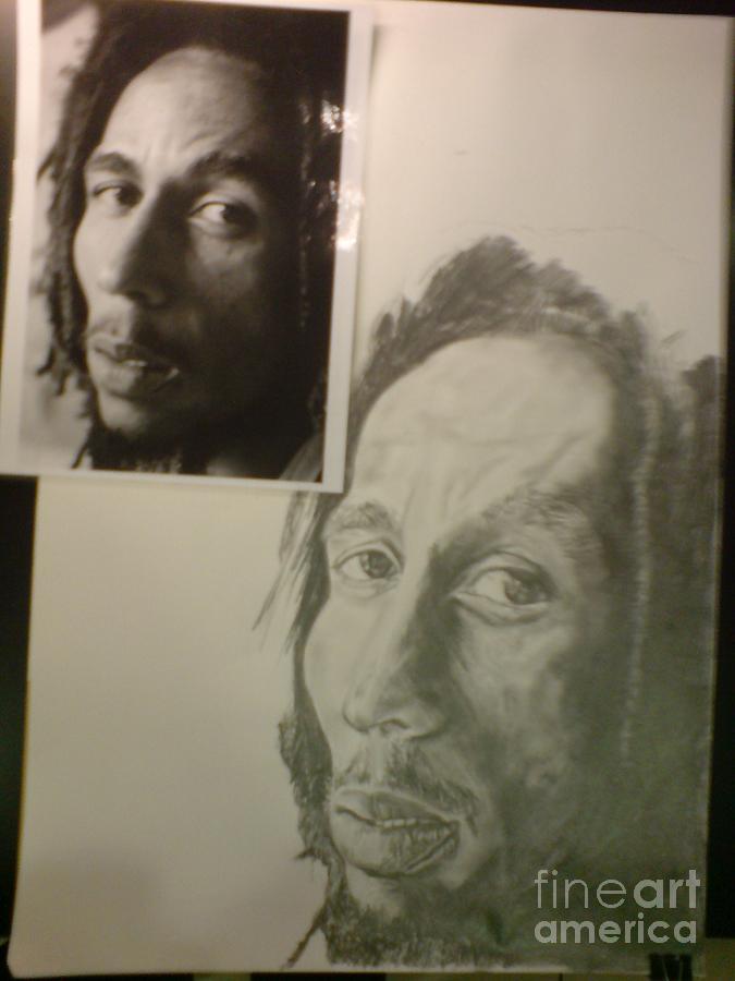 Portrait Drawing - Bob Marley Unfinished by Emma Croydon