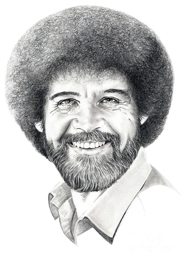 Pencil Drawing - Bob Ross by Murphy Elliott