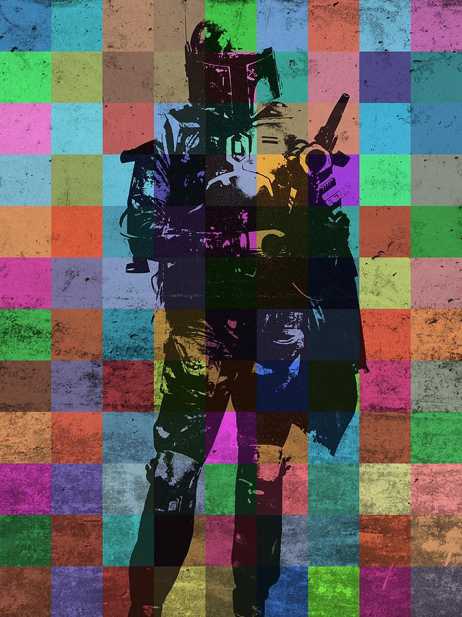Boba Fett Mixed Media - Boba Fett Bounty Hunter Pop Art Portrait by Design Turnpike