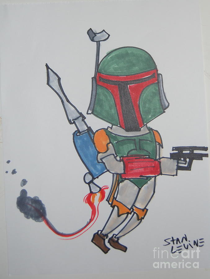 Caricature Drawing - Boba Fett Caricature by Stan Levine