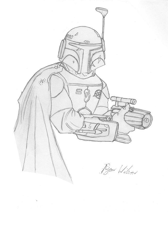 Pencil Sketch Drawing - Boba Fett by Ryan Wilson