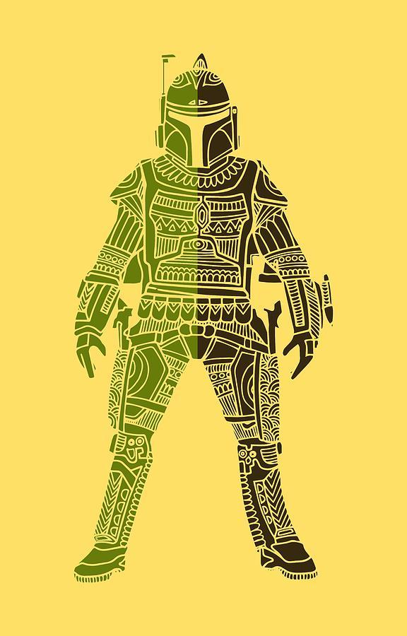 Boba Mixed Media - Boba Fett - Star Wars Art, Green 03 by Studio Grafiikka