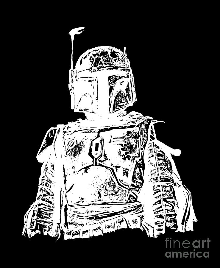 Star Wars Digital Art - Boba Fett Tee by Edward Fielding