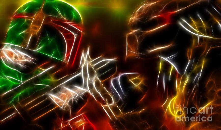 Boba Fett Mixed Media - Boba Fett Vs Predator by Pamela Johnson