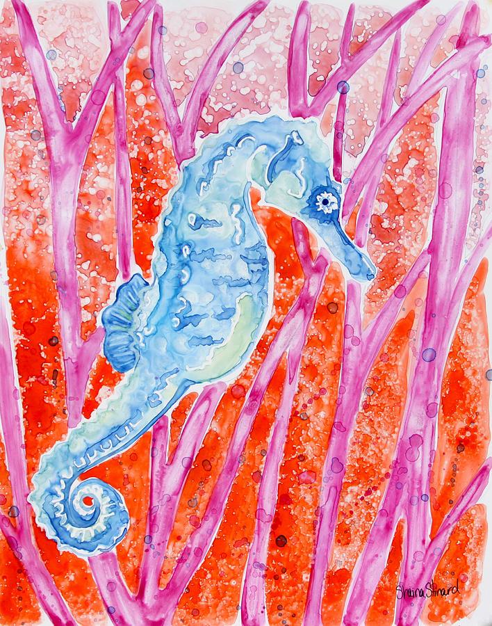 Seahorse Painting - Bobbin Along 2 by Shaina Stinard