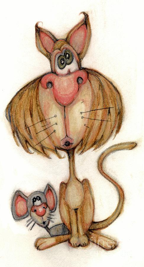 Cat Drawing - Bobblehead No 59 by Edward Ruth