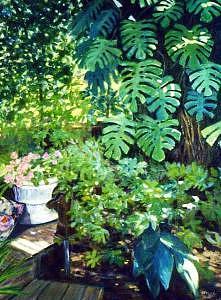 Flower Garden Painting - Bobs Garden by Helen Hickey