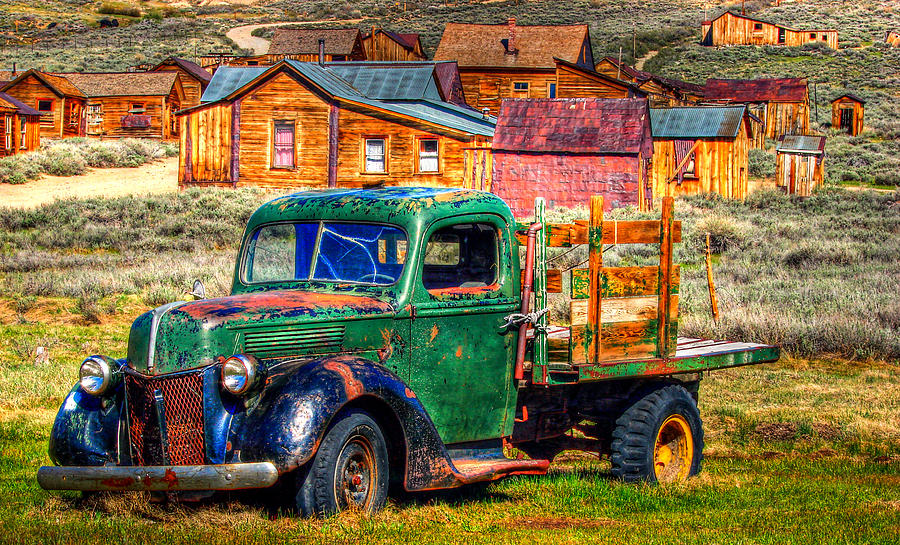 Bodie Ghost Town Photograph - Bodie Ghost Town Green Truck by Scott McGuire