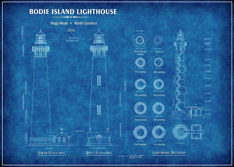 Bodie island lighthouse blueprint digital art by daniel hagerman lighthouse digital art bodie island lighthouse blueprint by daniel hagerman malvernweather Gallery