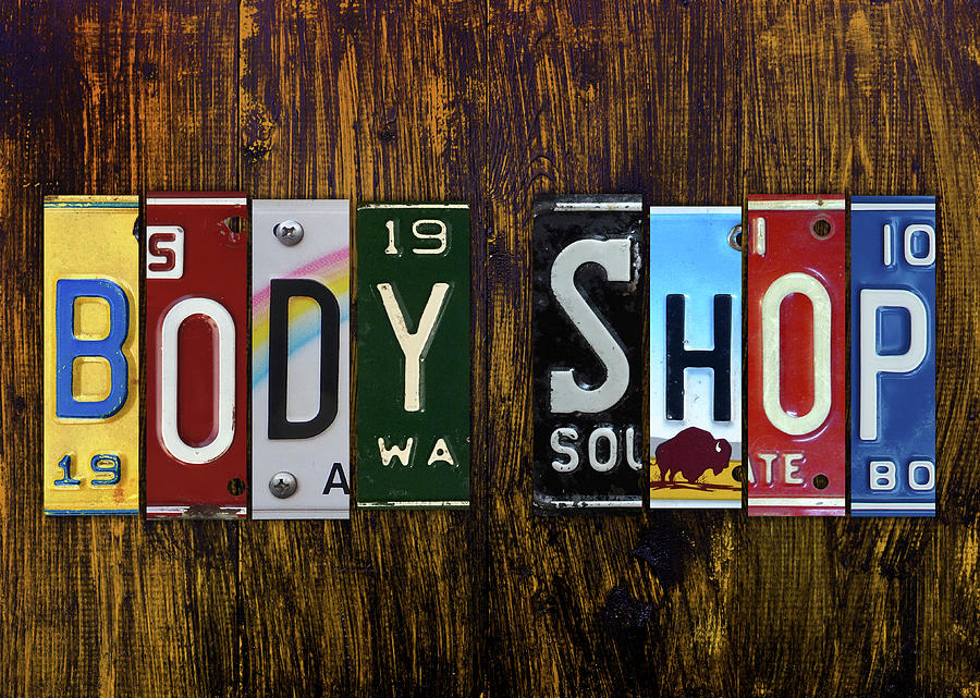Body Shop Lettering Sign License Plate Art Mixed Media By Design Turnpike