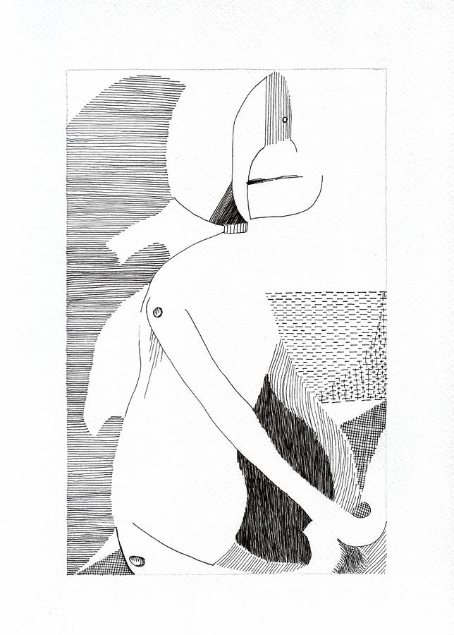 Ink Drawing - Bodyscape by Melissa Wong