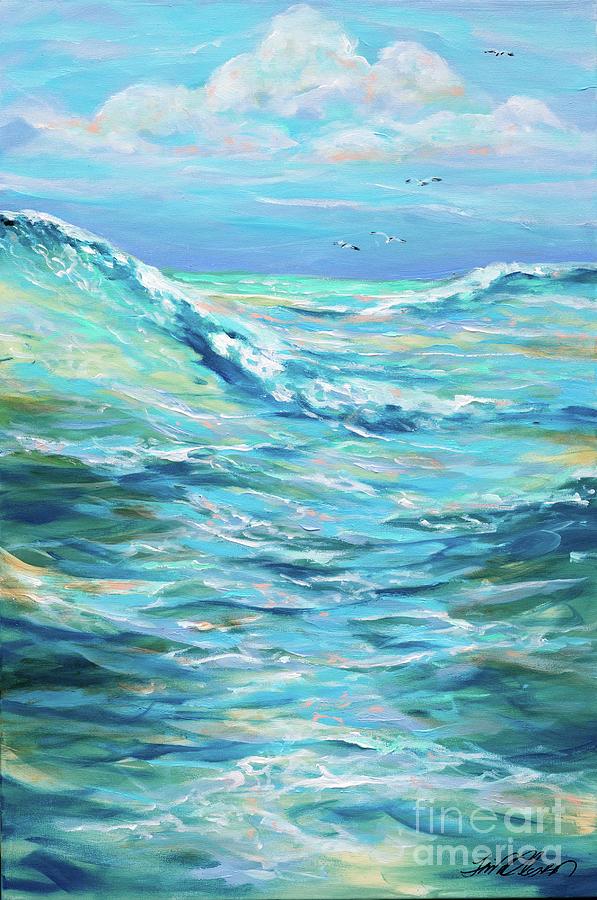 Surf Painting - Bodysurfing Afternoon by Linda Olsen