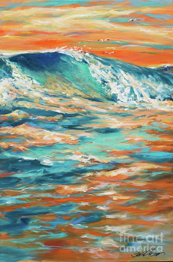 Surf Painting - Bodysurfing At Sunset by Linda Olsen
