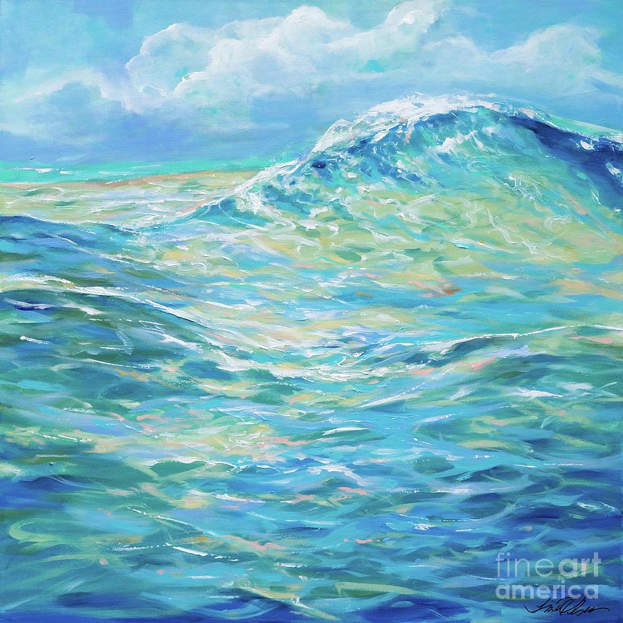 Surf Painting - Bodysurfing Rolling Wave by Linda Olsen