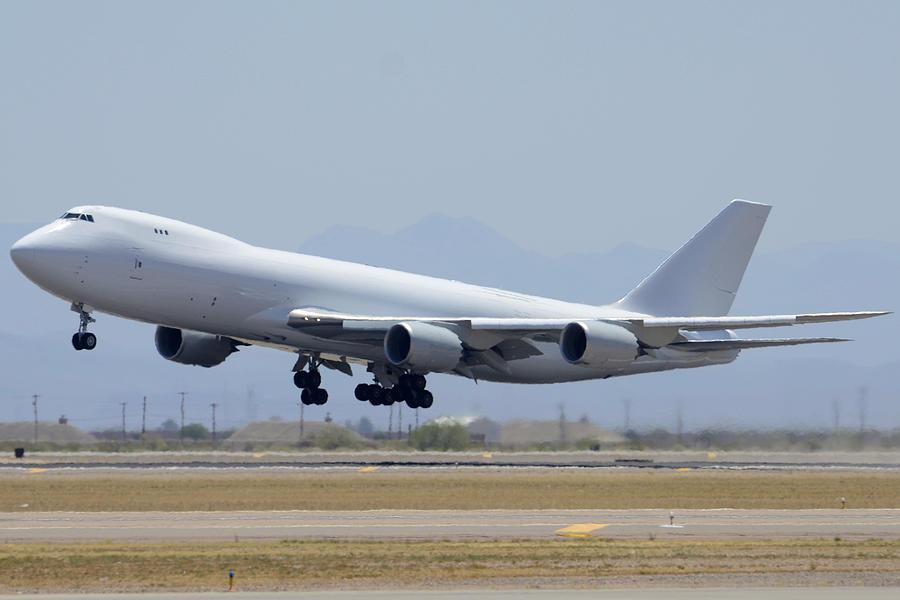 Airplane Photograph - Boeing 747-8kzf N6009f Mesa Gateway Airport June 10 2011 by Brian Lockett