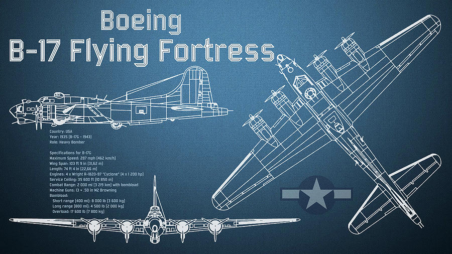 Boeing B 17 Flying Fortress Blueprint Digital Art By Jose