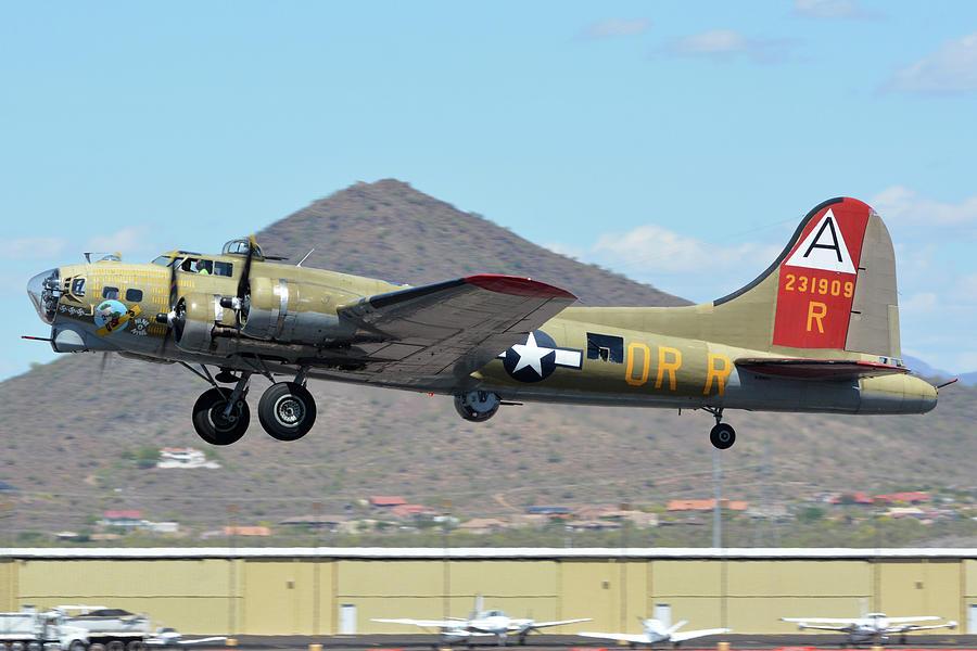 Airplane Photograph - Boeing B-17g Flying Fortress N93012 Nine-o-nine Deer Valley Arizona April 13 2016 by Brian Lockett