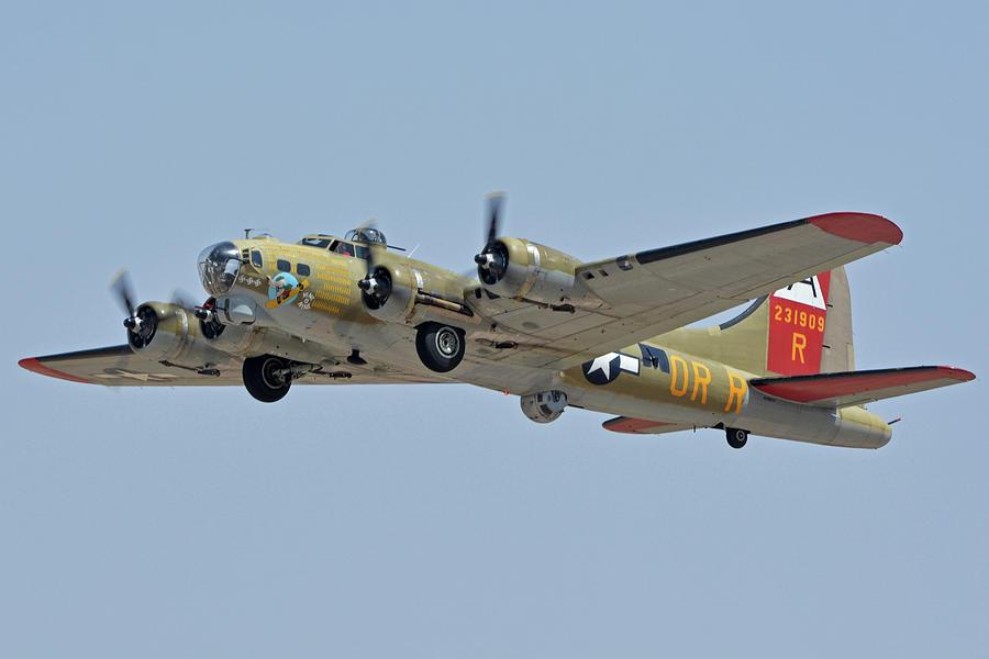 Airplane Photograph - Boeing B-17g Flying Fortress N93012 Nine-o-nine Phoenix-mesa Gateway Airport Arizona April 15, 2016 by Brian Lockett