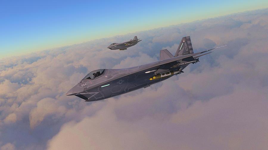F-32 Digital Art - F-32 Joint Strike Fighter by Hangar B Productions