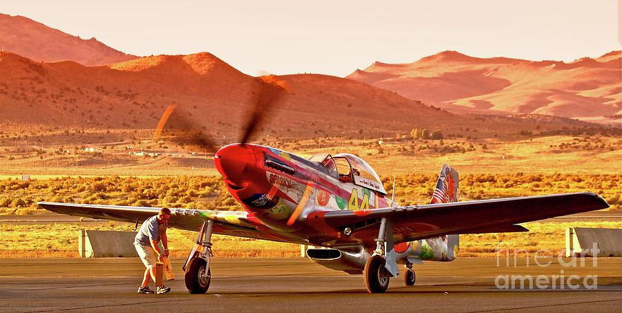 Airplane Photograph - Boeing North American P-51d Sparky At Sunset In The Valley Of Speed Reno Air Races 2010 by Gus McCrea