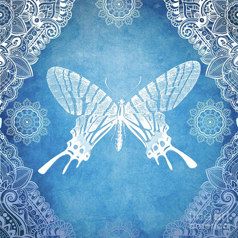 Bohemian Mixed Media - Bohemian Ornamental Butterfly Deep Blue Ombre Illustratration by Sharon Mau