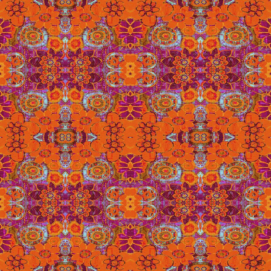 Boho Hippie Garden - tangerine by Lisa Weedn