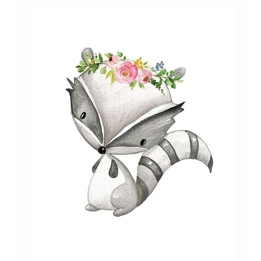 Boho Raccoon Custom Order Digital Art By Pink Forest Cafe