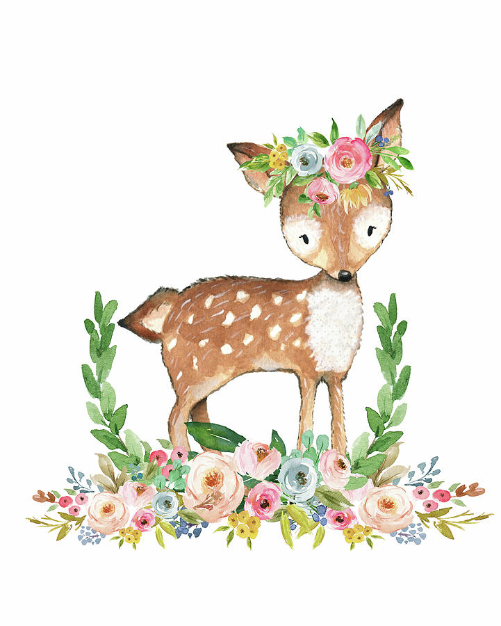 boho woodland baby nursery deer floral watercolor digital art by pink forest cafe boho woodland baby nursery deer floral watercolor by pink forest cafe