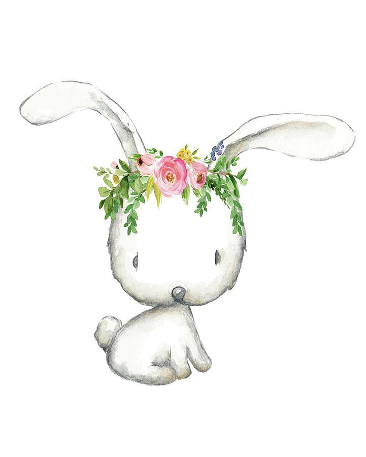 Boho Woodland Bunny Floral Watercolor Digital Art By Pink