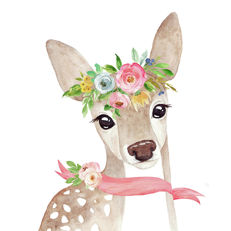 boho woodland deer with ribbon digital art by pink forest cafe clipart of deer skin clipart of deer lying down