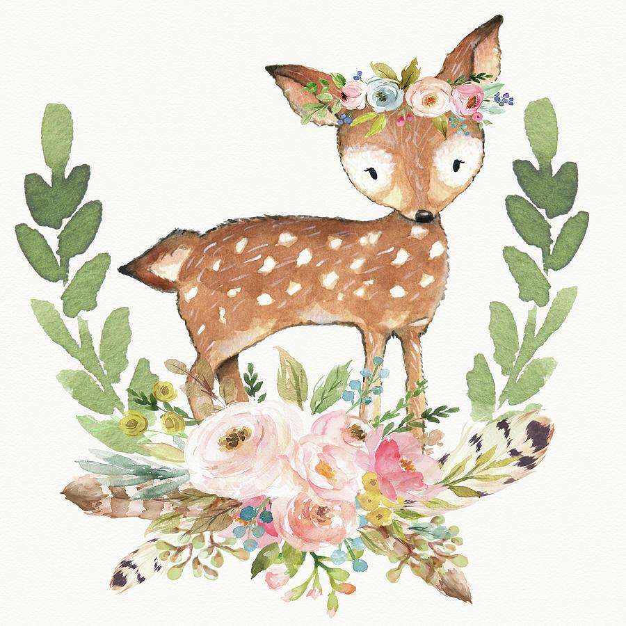 Deer boho. Woodland tribal watercolor feathers