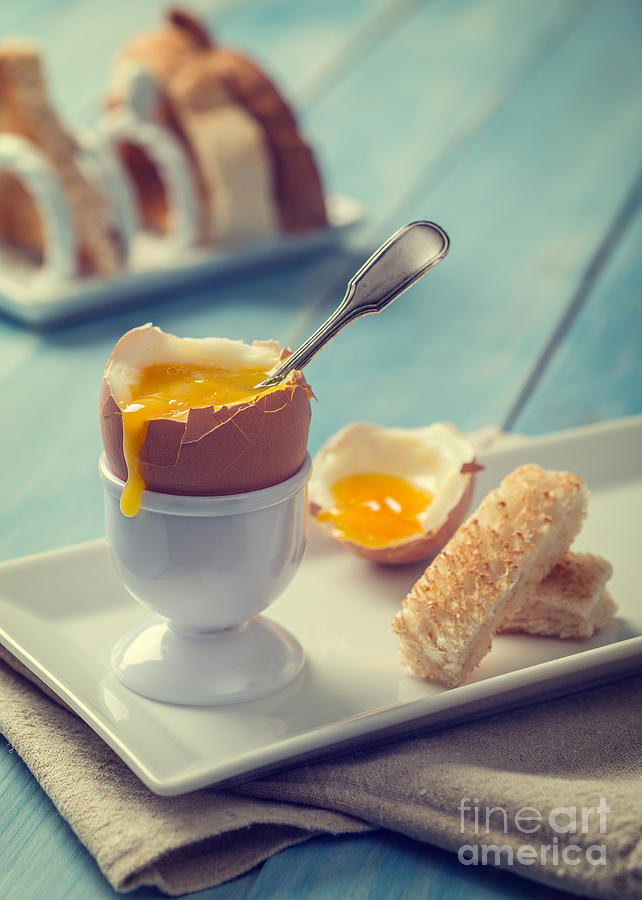 Soft Photograph - Boiled Egg With Spoon by Amanda Elwell