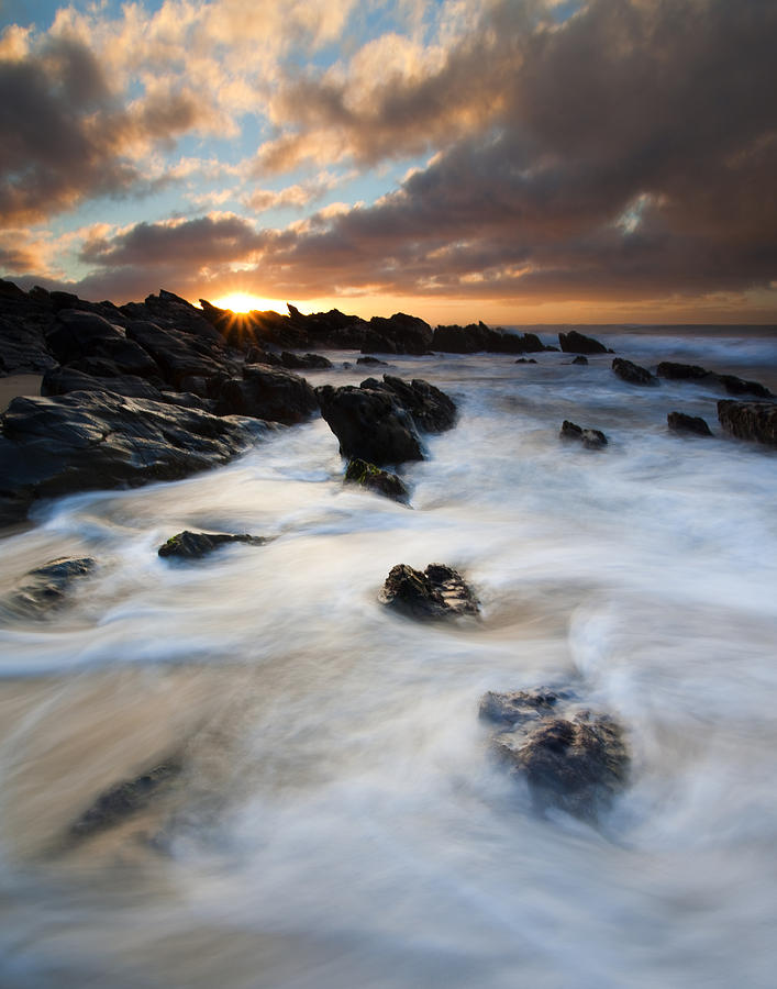 Sunrise Photograph - Boiling Tides by Mike  Dawson