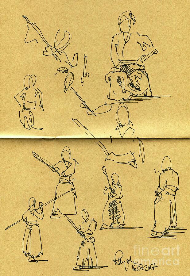 Bojutsu Motion Studies Japanese Sport Fountain Pen Ink Drawing