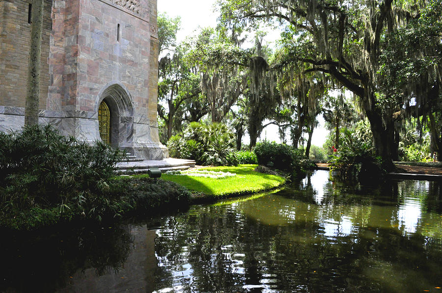 Tower Photograph - Bok Tower With Moat by Debra White