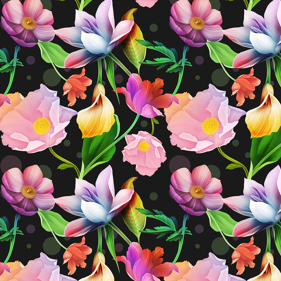 Bold And Bright Colored Tropical Flowers On Black Background