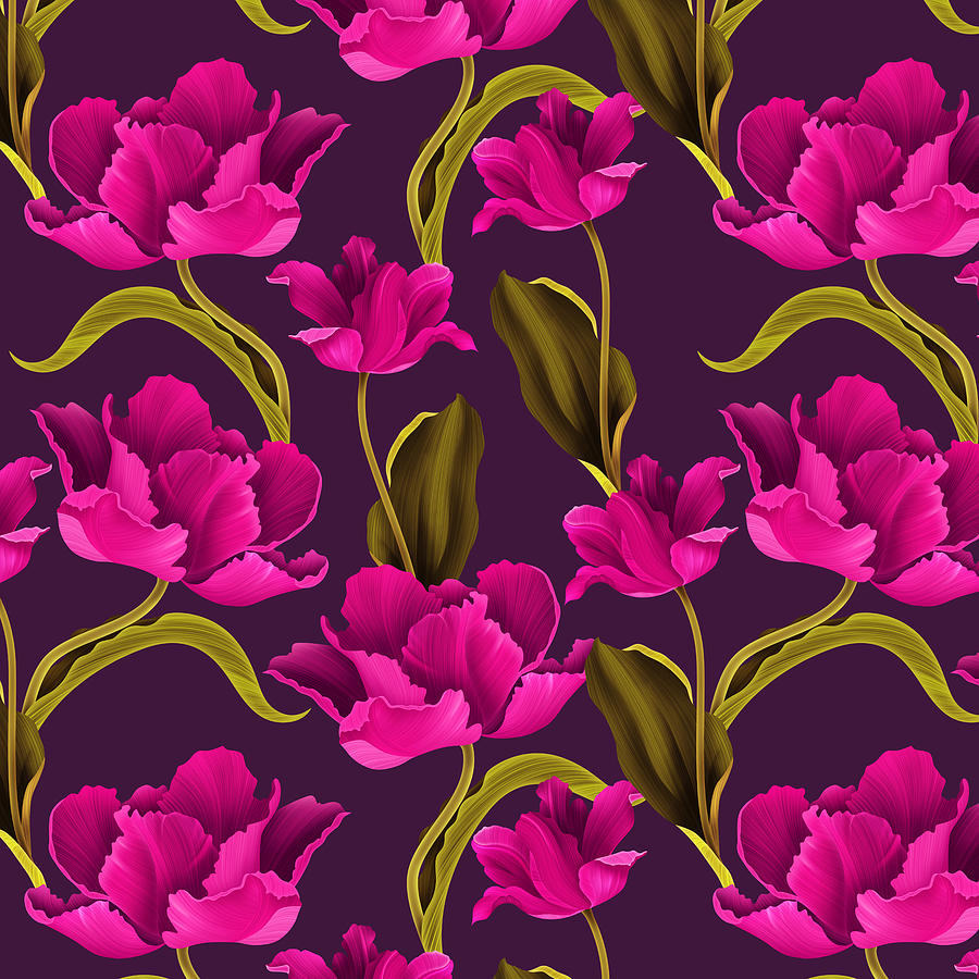 Bold And Bright Hot Pink Colored Parrot Tulip Flowers On Dark