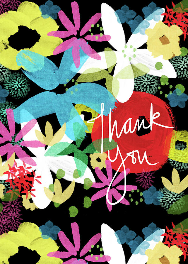 Floral Painting - Bold Floral Thank You Card- Design by Linda Woods by Linda Woods
