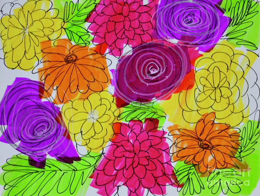 Cards Painting - Bold Flowers by Kim Nelson