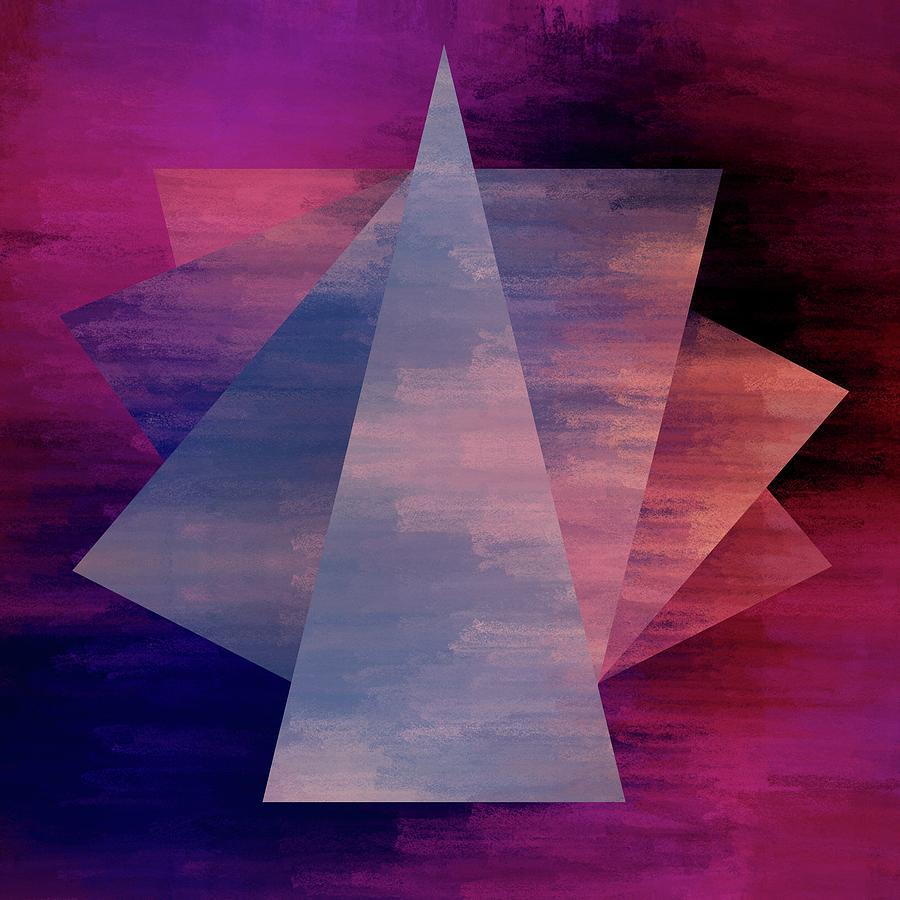 Brandi Fitzgerald Digital Art - Bold Fuchsia And Blue Triangles by Brandi Fitzgerald