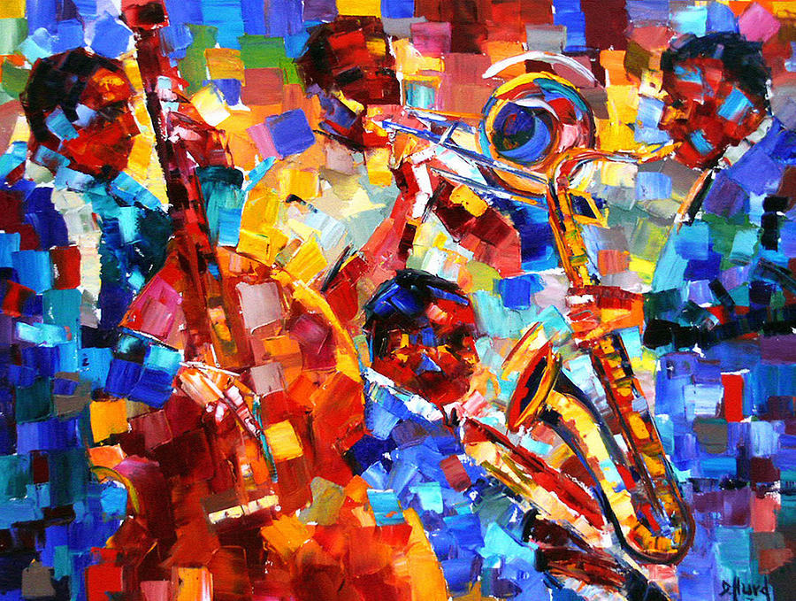 Jazz Painting - Bold Jazz Quartet by Debra Hurd