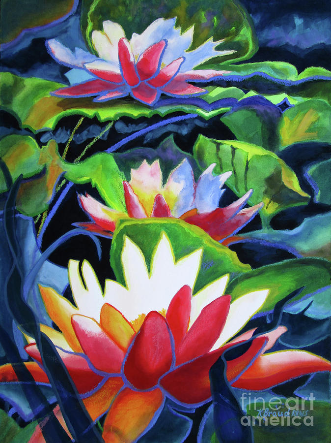 Paintings Painting - Bold Lilypads by Kathy Braud