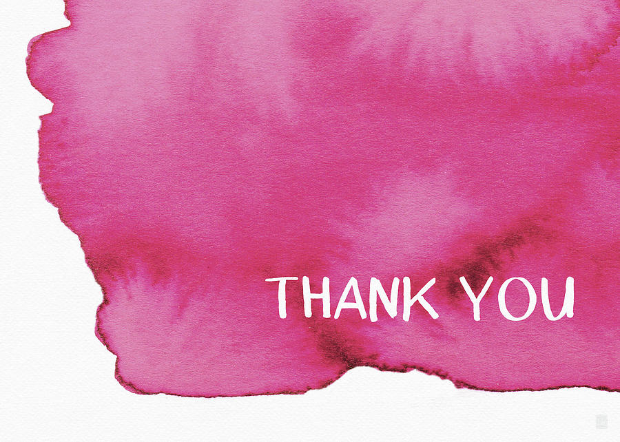 Pink Painting - Bold Pink And White Watercolor Thank You- Art By Linda Woods by Linda Woods