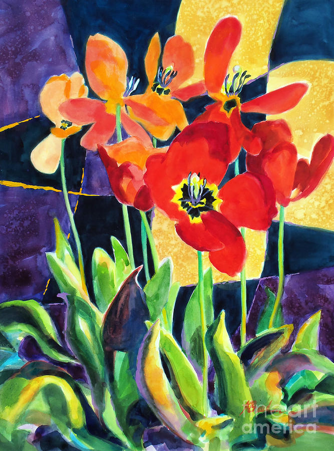 Painting Painting - Bold Quilted Tulips by Kathy Braud