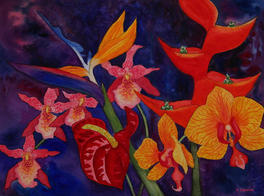 Bold Tropical Flowers Painting By Kerri Ligatich