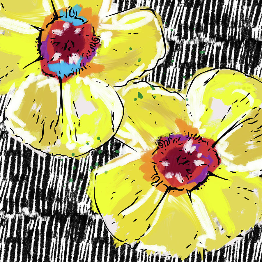 Bold Yellow Poppies Art By Linda Woods Mixed Media By Linda Woods