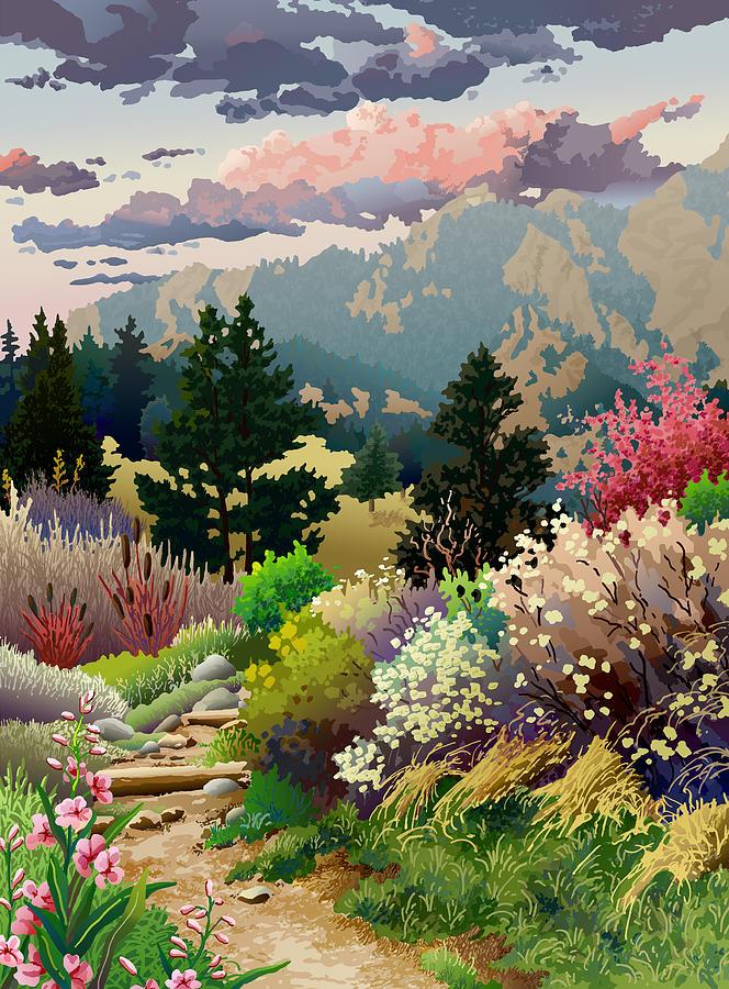 Serigraph Digital Art - Bolder Boulder 10K Poster 2007 by Anne Gifford
