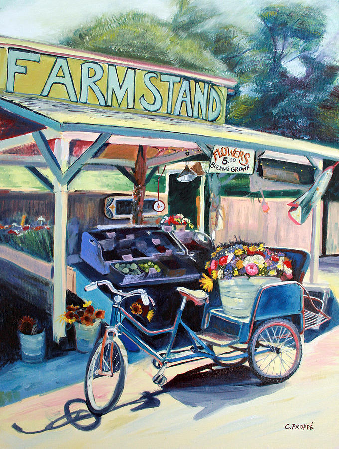 Bicycle Painting - Bolinas Farmstand Bike by Colleen Proppe