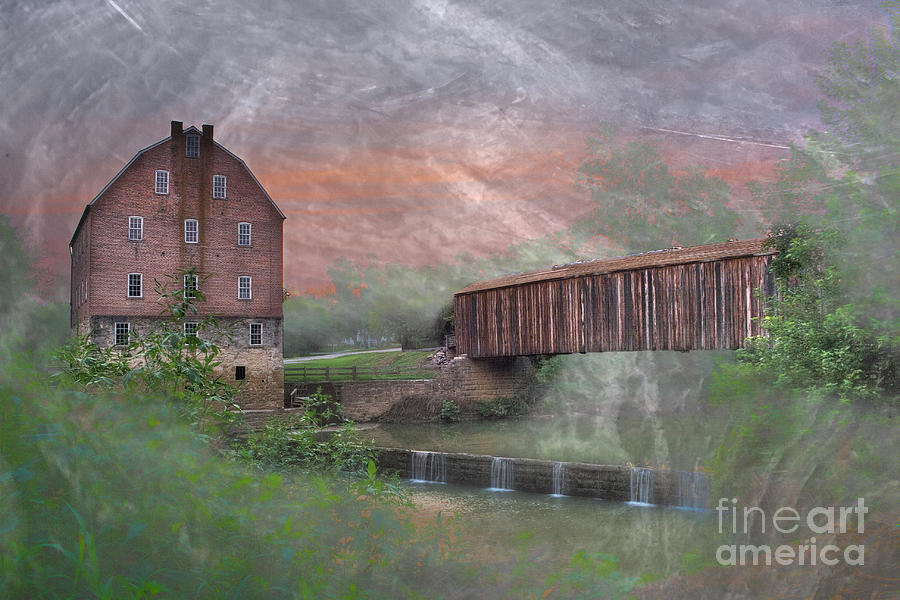 2008 Digital Art - Bollinger Mill With Texture  by Larry Braun
